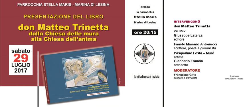 """Presentazione del libro """"don Matteo Trinetta""""<br />29 lugio 2017, ore 20:15 – Parrocchia Stella Maris – Marina di Lesina"""